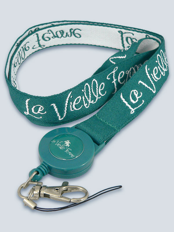 Woven lanyard with retractable reel