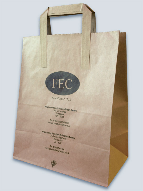 Brown kraft bag with external paper tape handles and 1 spot colour print
