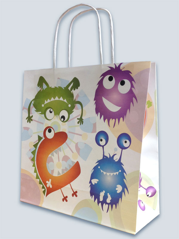 White kraft bag with full colour, full coverage CMYK print and twisted paper handles