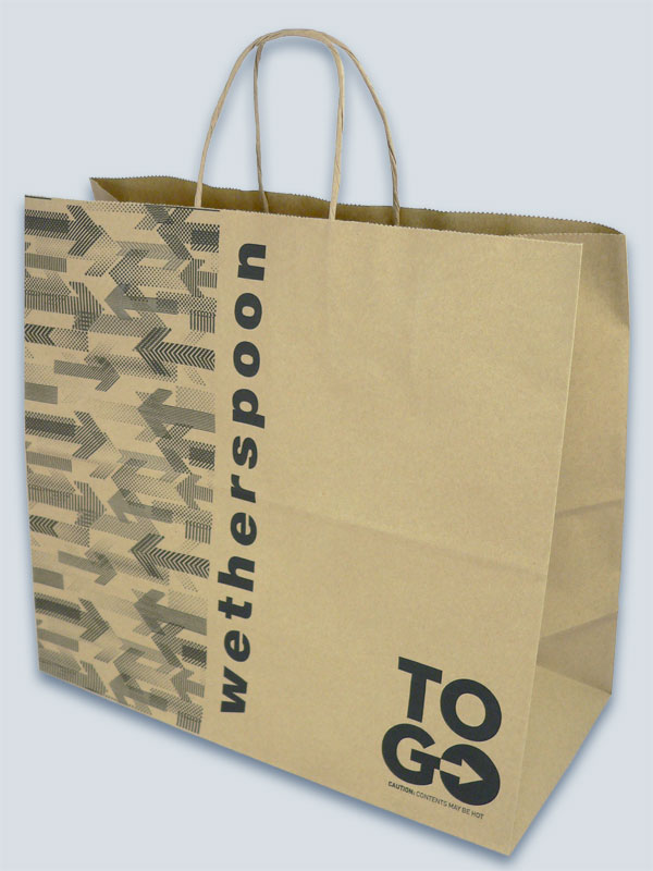Brown kraft bag with one colour print and twisted paper handles