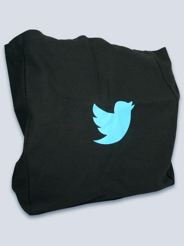 Black Nutmeg bag with 1 spot colour print