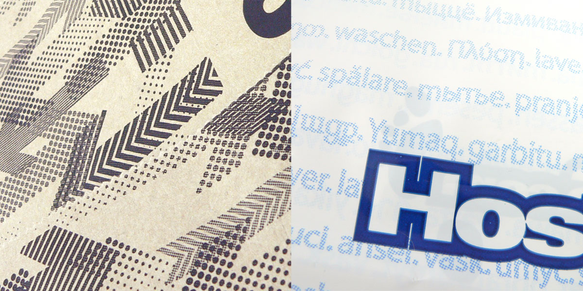 Flexographic printing - halftone patterns on kraft paper bags and plastic bags