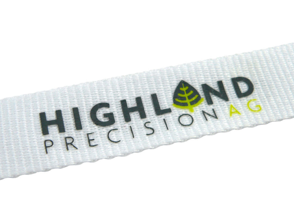 Flat Polyester Lanyard with 2 colour print, close-up